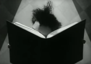 Character reading a book