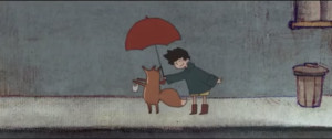 a boy and a fox in the rain